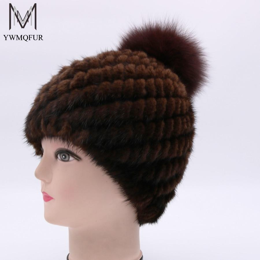YWMQFUR Genuine Mink Fur Hat Cap Nature Knit Mink Fur Hat With Fox Fur Ball Beanies Fashion Women Winter Headgear Pom Poms H97