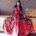 MX038 Nova Chegada da Primavera 2016 Verão oco out chiffon impressão estilo bohemian exotic mulheres profundo Decote Em V longo maxi vestido sexy