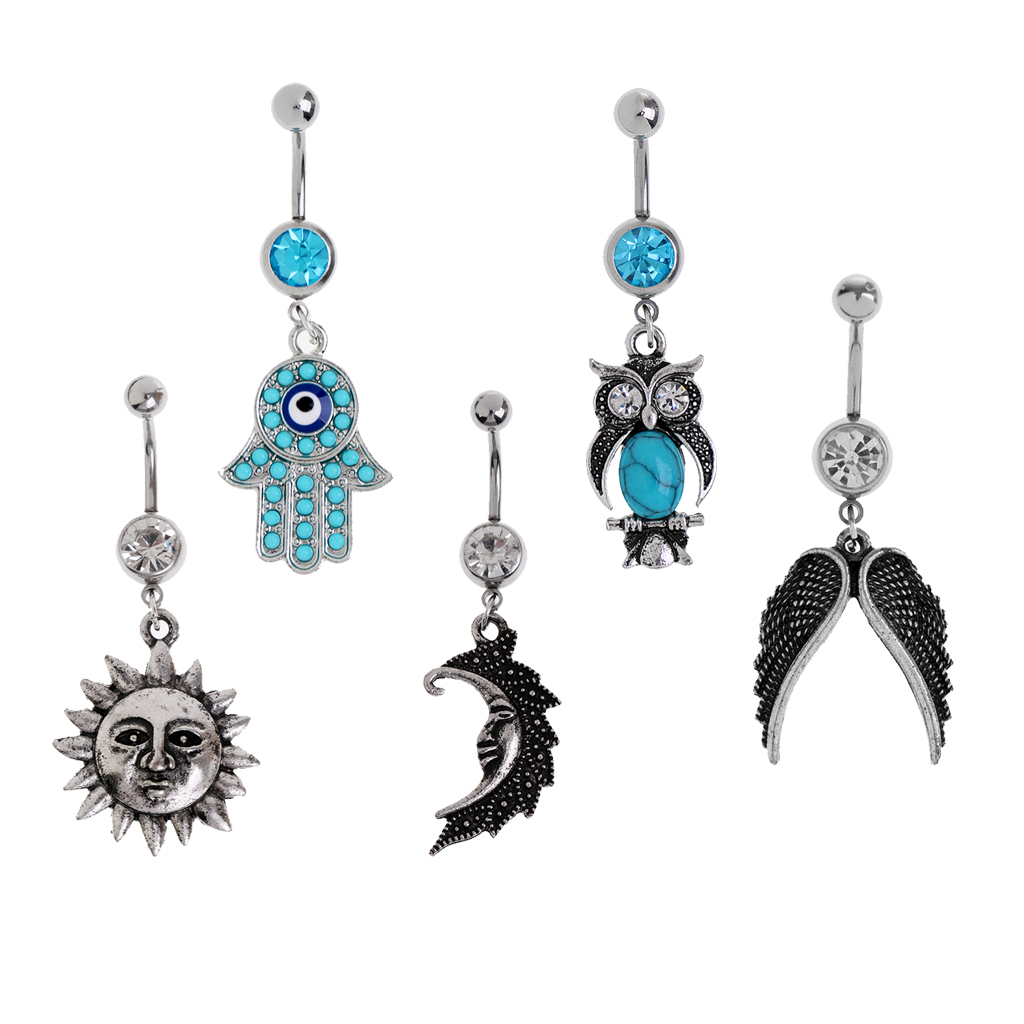 Aliexpress Buy 5 Pieces Lot Stainless Steel Rhinestone Dangle Belly Navel Ring Piercing