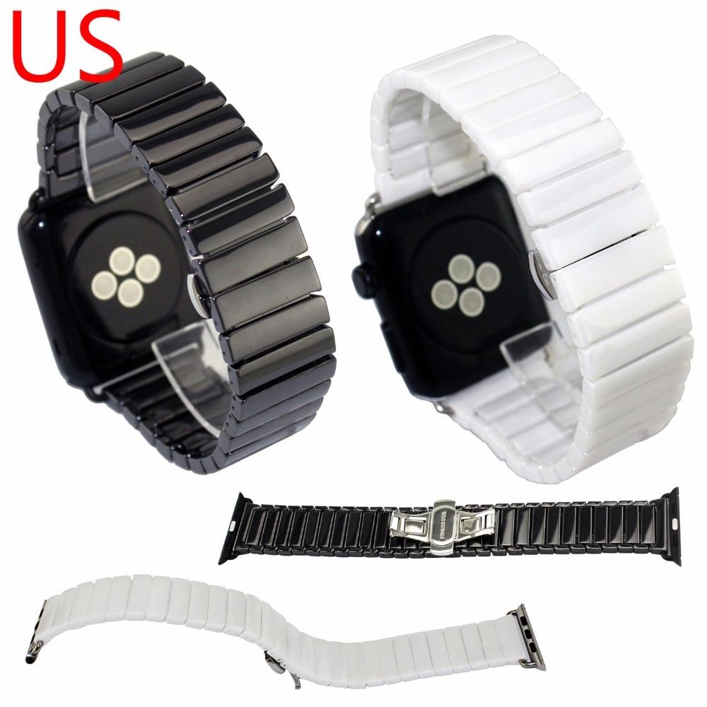 купить DAHASE Ceramic Watchband for Apple Watch Series 3 Strap Butterfly Buckle Ceramic Links Bracelet for iWatch 1/2 Band 38mm 42mm по цене 1069.63 рублей