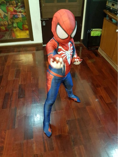 Kids PS4 INSOMNIAC SPIDERMAN SUIT Games Cosplay Costumes