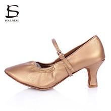 2017 Latin Dancing Shoes For Women Tango Female Shoes Medium Heels Modern Salsa Ballroom Dancing