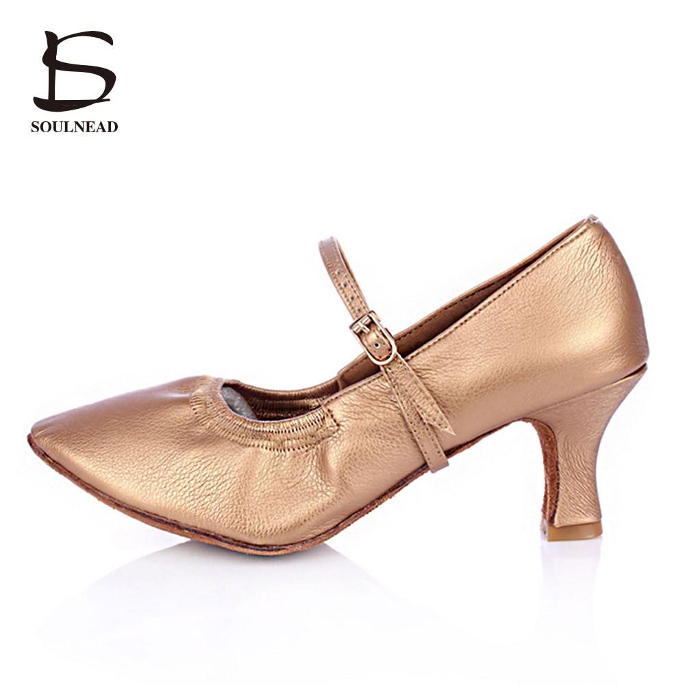 2018 Zapatos de baile latino para mujeres Zapatos femeninos de tango Tacones medios Salsa moderna Zapatos de baile de salón Zapatos para mujer Tacones 5 cm
