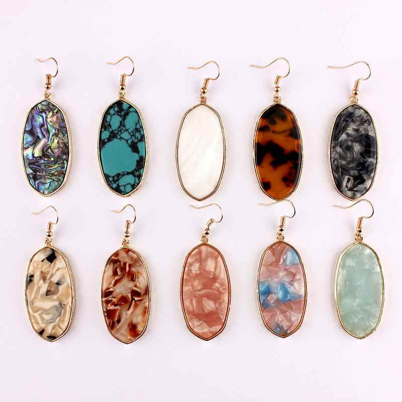 2018 New Gold Natural Stone Acetate Oval Earrings for Women Fashion Designer Abalone Shell Large Earrings JewelryWholesale