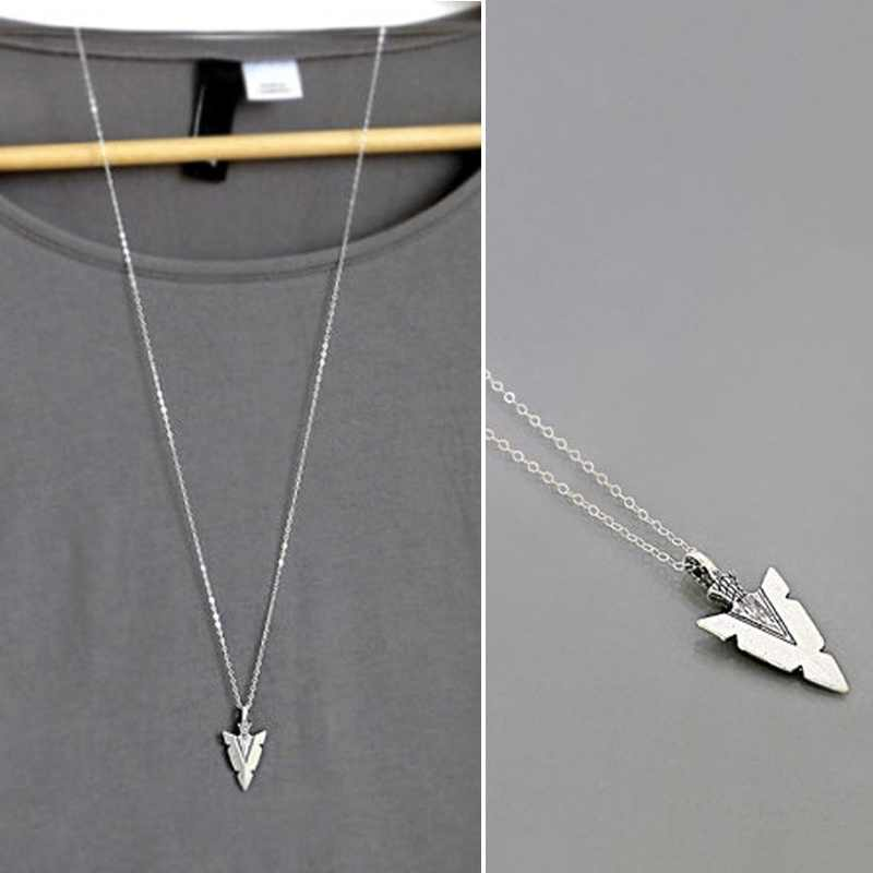 Arrowhead Necklace Gift Antique Silver Arrow Head Charm Pendant Long Layering Necklace Everyday Jewelry