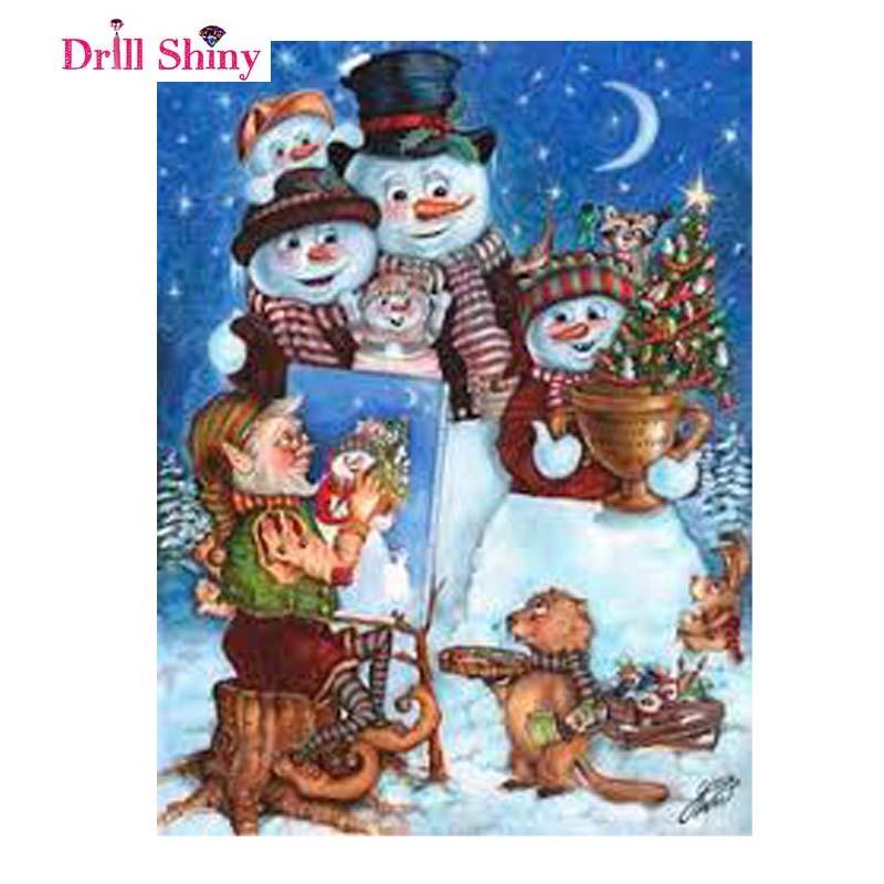 Weihnachten Weihnachtsmann Tier Schnee Szene 5D Diy Diamant Malerei ...