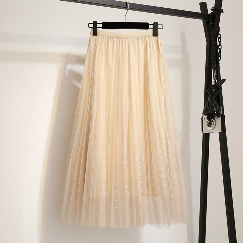New 2019 Spring Summer Skirts Womens Beading Mesh Tulle Skirt Women Elastic High Waist A Line Mid Calf Midi Long Pleated Skirt 2