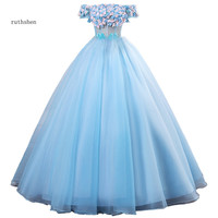 ruthshen 2019 New Fairy Sky Blue Quinceanera Dresses Off The Shoulder Ball Gown Short Sleeves Puffy Prom Dresses Vestidos Para
