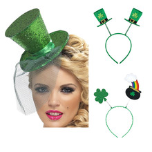 Irish St Patricks Day Headband Green Hairband Shamrock Buckle Accessories  Small Sequin Hat for Festival Party f415691d9d8e