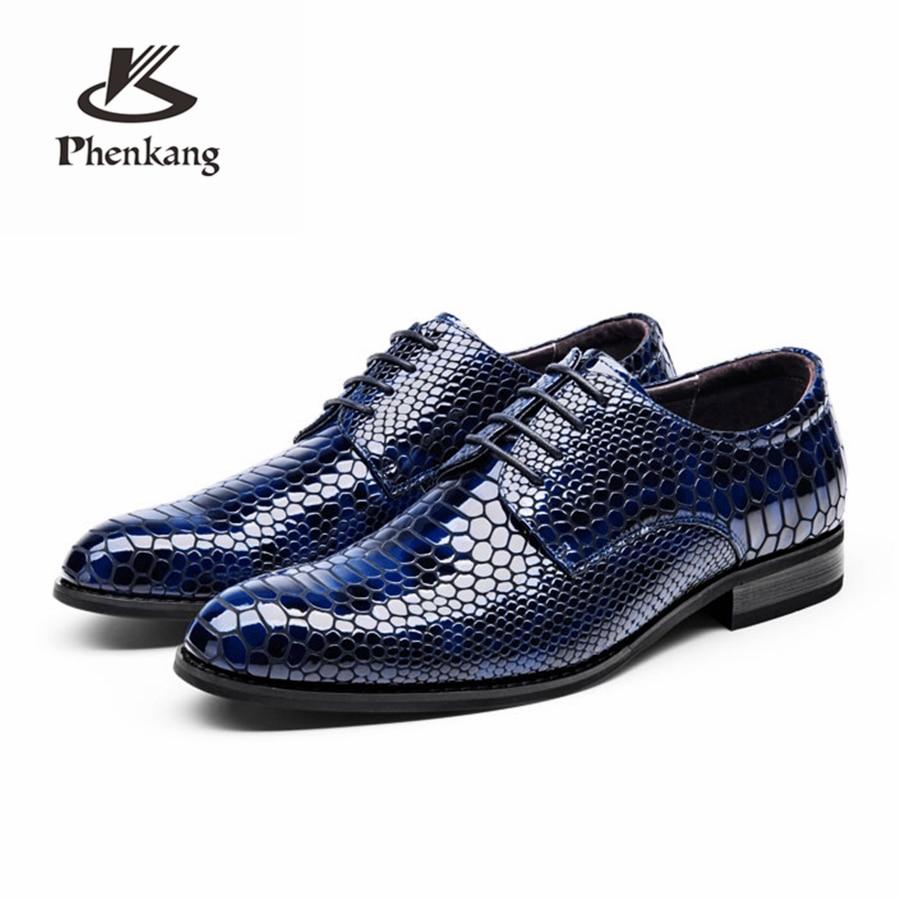 Ægte cow læder brogue business Bryllup banket mænd sko afslappet fladt sko vintage vintage oxford sko sort blå 2019