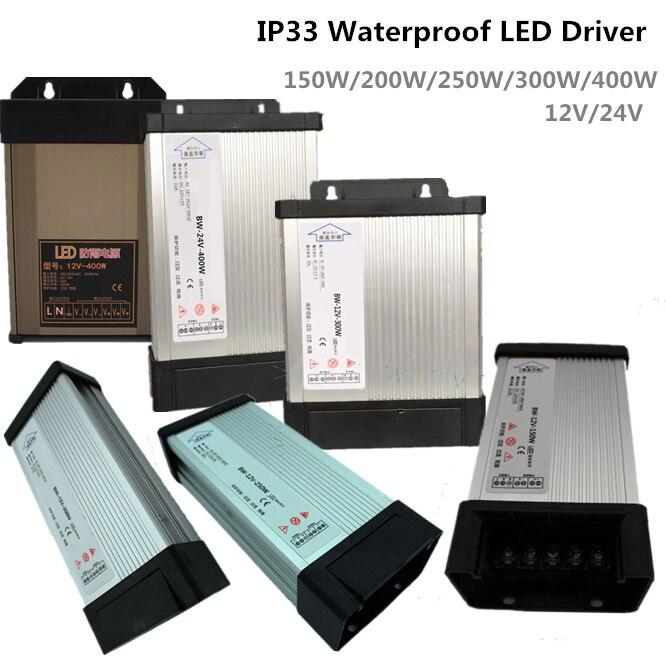 3 Years Warranty DC 12V/24V Waterproof LED Driver AC100-240V Adapter Transformer Driver 150W 200W 250W 300W 400W Power Supply