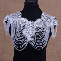 Luxury Full Crystal Bridal Choker Necklace Wowen Shoulder Chain Wedding Accessories Vintage Big Shoulder Lace Strap Jewelry
