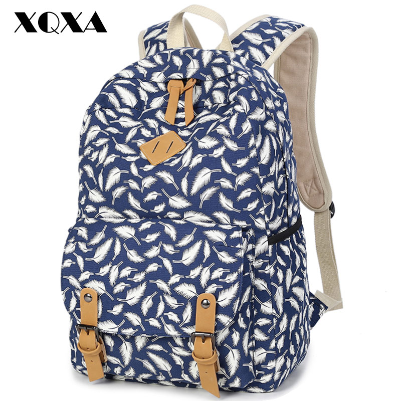 XQXA Feather Printing Girl School Bags For Teenagers Cute Canvas font b Women b font font