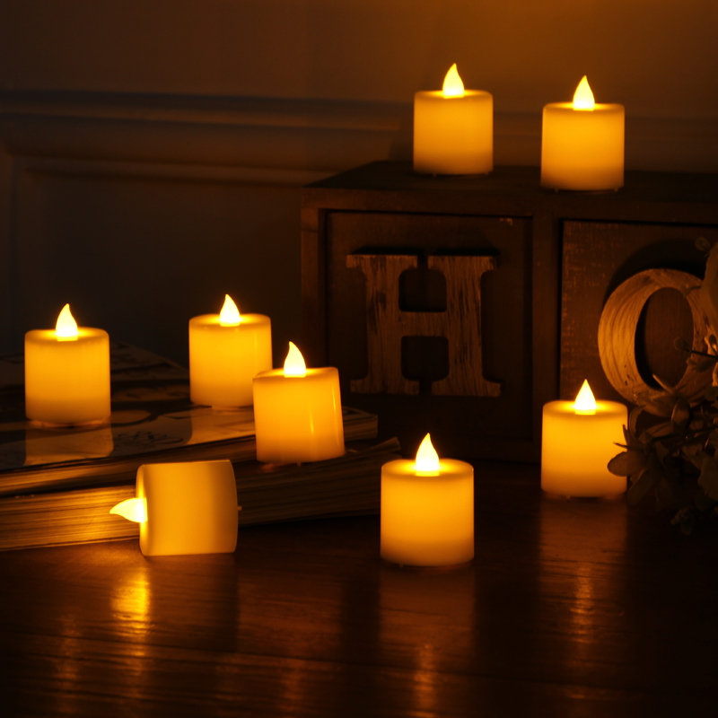 10 pcs LED Electronic Flameless Candles Yellow Tea Light Simulation Flame Flicker Candle Lamps mini Candles for Wedding Party