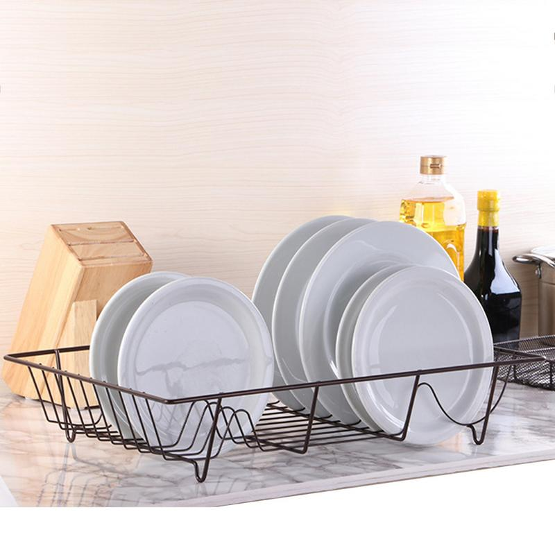 Dish Drainer With Drip Tray Sink Rack With Cutlery Basket