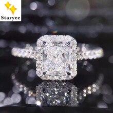 STARYEE 1CT 放射カットモアッサナイト婚約指輪リアル 18 k ホワイトゴールドダイヤモンド女性チャールズ Colvard VS F 宝石