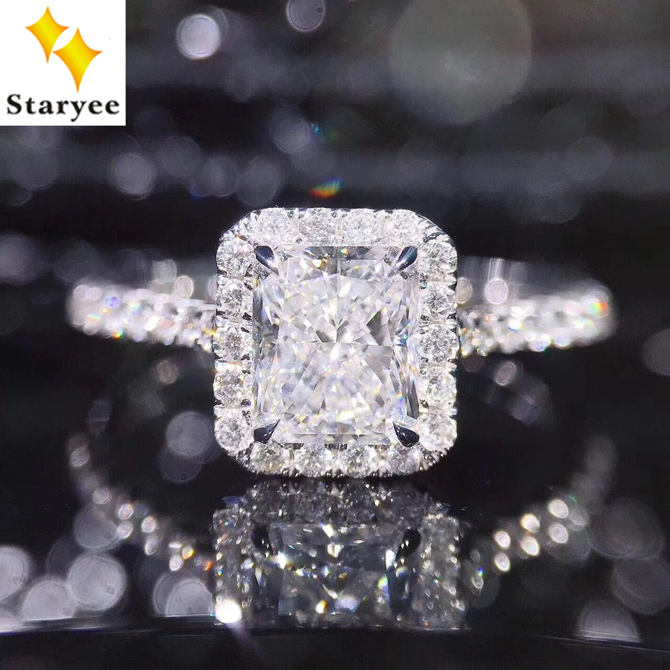 STARYEE 1CT Radiant Cut Moissanite Engagement Ring Real 18K White Gold Diamond Fine Jewelry For Women Charles Colvard VS F Gems helon solid 18k 750 rose gold 0 1ct f color lab grown moissanite diamond bracelet test positive for women trendy style jewelry