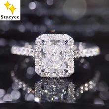STARYEE 1CT Radiant Cut Moissanite Engagement Ring Real 18K White Gold Diamond Fine Jewelry For Women Charles Colvard VS F Gems