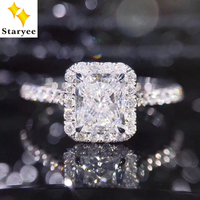 STARYEE 1CT Radiant Cut Moissanite Engagement Ring Real 18K White Gold Diamond Fine Jewelry For Women