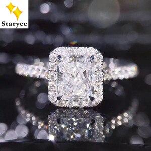 Image 1 - STARYEE 1CT Radyant kesim moissanit Nişan Yüzüğü Gerçek 18 K Beyaz Altın Pırlanta Güzel Takı Kadınlar Için Charles Colvard VS F taşlar