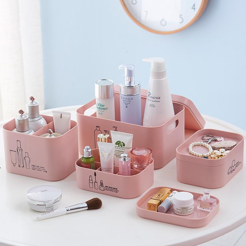 Multi-grid Plastic Box Desktop Makeup Organize Storage Box Cosmetic Case Jewelry Box Skin Care Products Shelf with 1-6 Grids