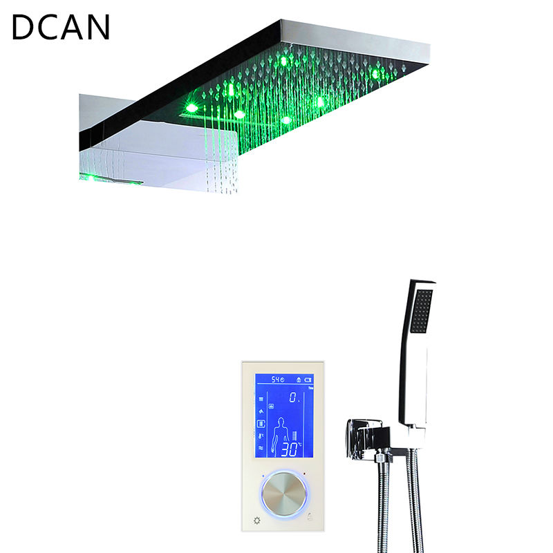 "DCAN Digital Thermostat Touch Screen Led Shower Set 22"" Waterfall Controller Smart Shower Sets Massage Bath & Shower Faucets"