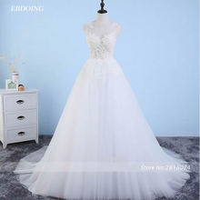 EBDOING Ivory Boat Neck A-line Wedding Dresses Dress With