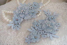 2pcs light blue bead Lace Applique with 3D flower, floral lace applique, hair flowers accessories