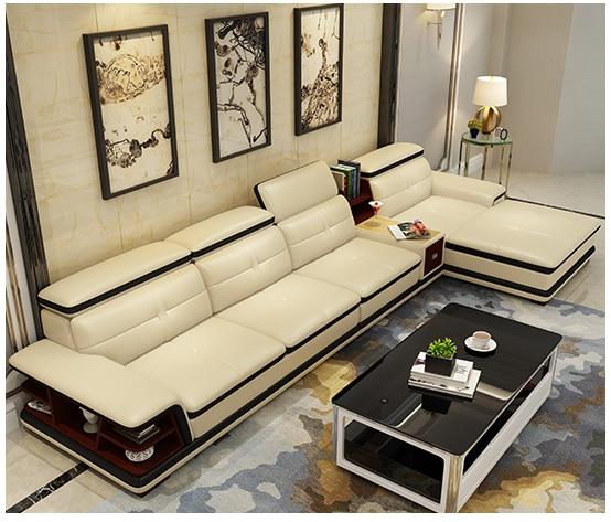 Living Room Sofa Storage Speaker Real Genuine Leather Sofas Salon Couch Puff Asiento Muebles De Sala Canape L Shape Sofa Cama