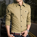 Men's Casual shirt Spring male long-sleeved Slim fashion dress shirts pocket military body fit man plus size M-4Xl Clothes
