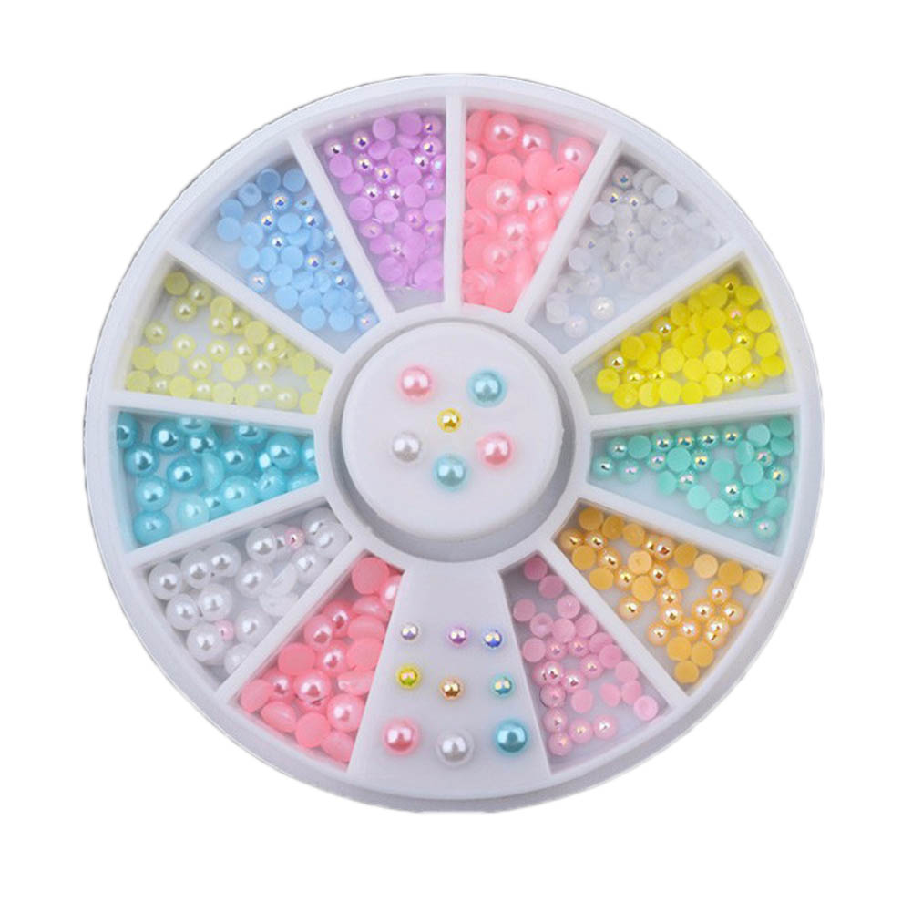 1 Box! Candy Color Pearl Gemstone Acrylic Manicure Nail Art Decoration
