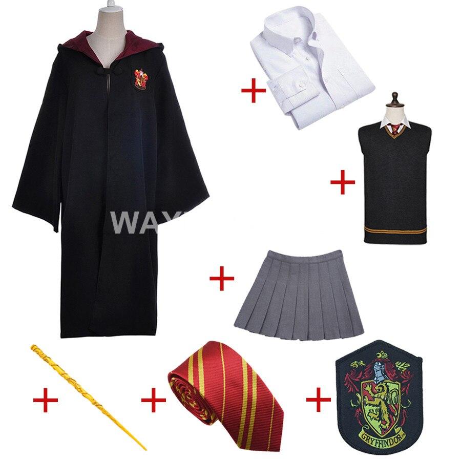 Gryffondor Uniforme Hermione Granger costume Cosplay Adulte Version Coton Halloween Partie pour Harri Potter Cosplay