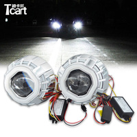 Tcart Double Color CCFL Square /Prismatic Double Angel Eyes bi xenon Projector Lens Light For Auto CAR Headlights CCFL Chip