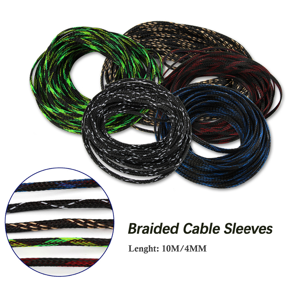 4 25mm 10m Cable Sleeve Pet Braided Expandable Wire High Mesh Wiring 5 Colors Sleeves 4mm Snakeskin Protecting Nylon