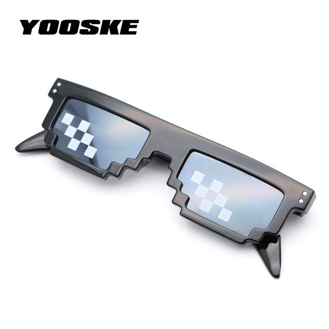 6ab00174f46 placeholder YOOSKE Thug Life Deal With It Glasses Men 8 Bit MLG Pixelated  Sunglasses Women Vintage Party