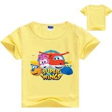 3-16years bebê meninos tshirt manga curta traje super asas t camisa crianças verão topos meninas tshirt criança roupas casuais