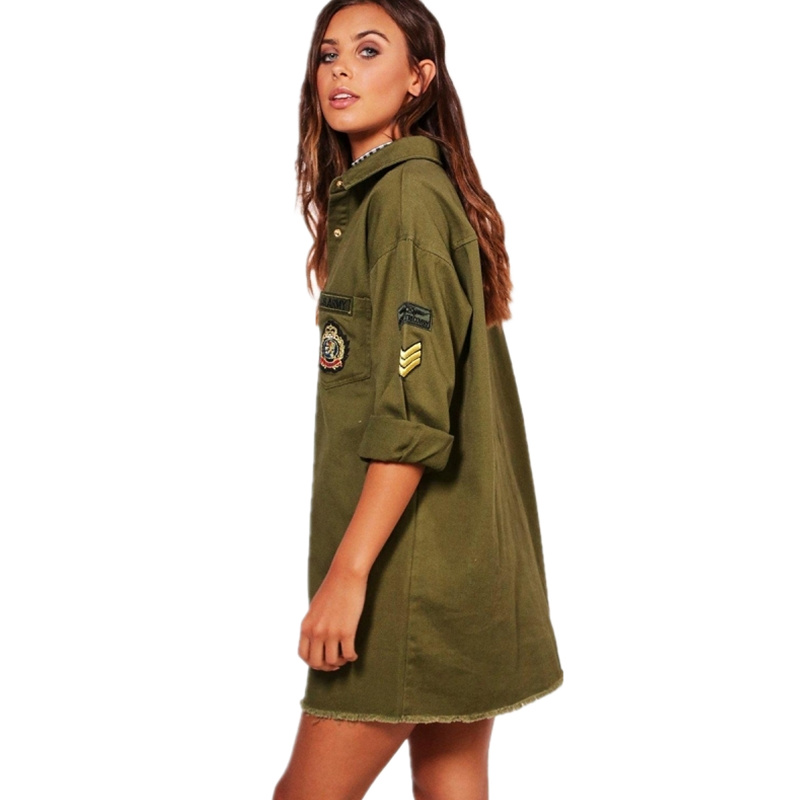 0d86540451d5 Army Green Shirt Dress Turn down Collar Long Sleeve Spring Autumn Dress  Women Solid Straight Mini Dress Military Casual Vestidos-in Dresses from  Women s ...