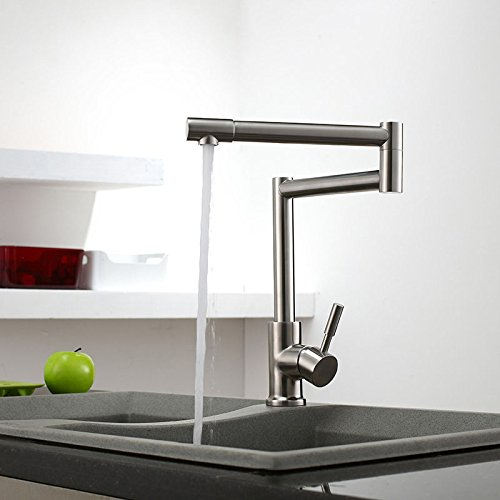 Brushed Nickel Finished Stainless Steel 1-Lever Deck-Mount Retractable Pot Filler Kitchen Faucet
