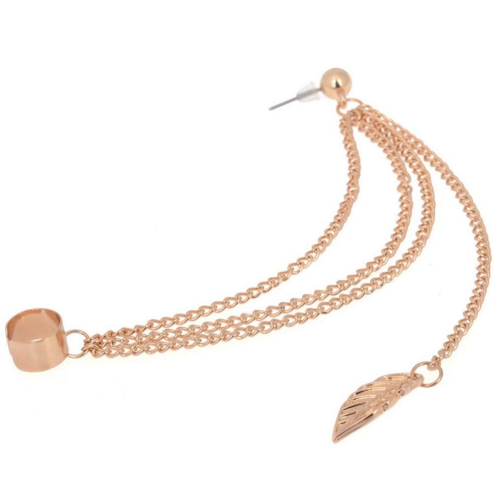 Cindiry Brand Clipon Earrings Girls Tassel Chain Leaf Dangle Cuff Earrings  For Women Fashion