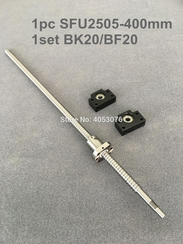 Ball screw SFU / RM 2505-400mm ballscrew with end machined + 2505 Ballnut + BK/BF20 End support for CNC parts bk17 fixed end ballscrew support slide linear ball screw