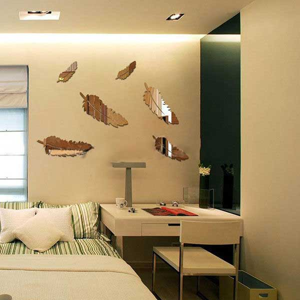 Creativa Pluma Diseñado Espejo Pegatinas Arte de Salón decoración del Hogar Deco