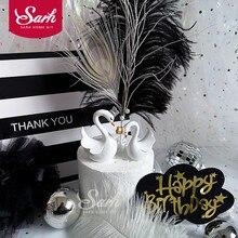 Corona de cisne blanco para pastel, decoración de postre para fiesta de cumpleaños de niño, regalos encantadores