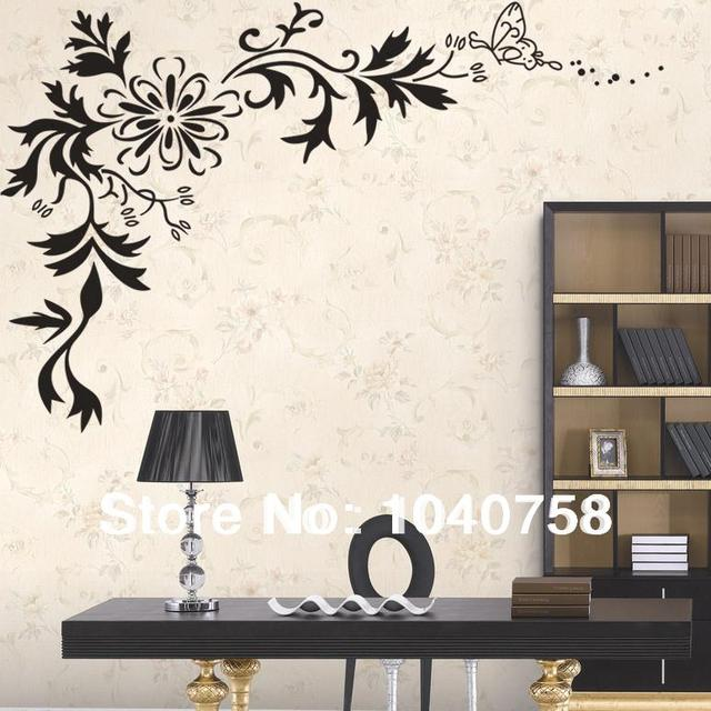 aliexpress com buy large black wall sticker flower extra large size bouquet of flowers wall stickers