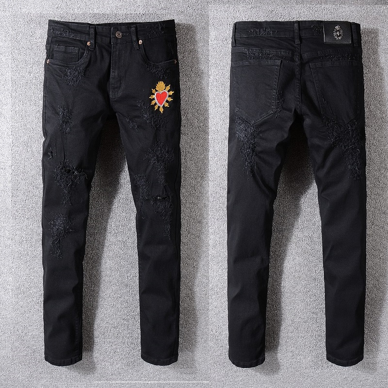 Men's Distressed heart Embroidered Skinny Black Jeans