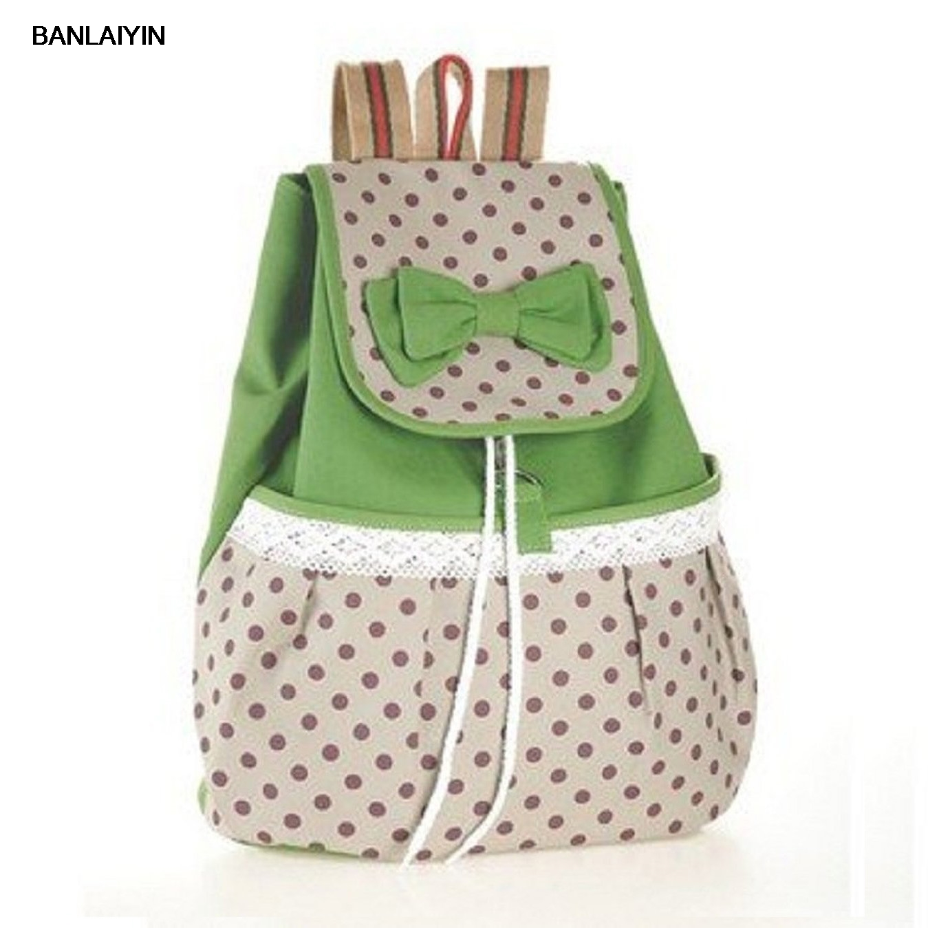 WholeTide 5*AUAU Girls Bowknot Canvas Backpack For Student (Green)WholeTide 5*AUAU Girls Bowknot Canvas Backpack For Student (Green)
