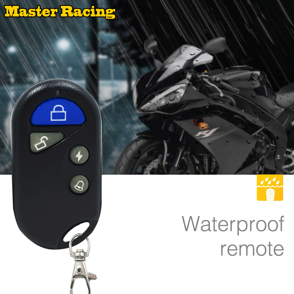 Master Racing Alarm Motorcycle Alarm System 2V Moto Bike Scooter Security Horn Anti-theft Alarm Remote Control Engine Start