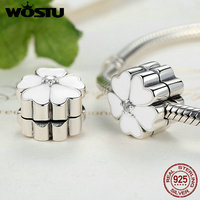 100 925 Sterling Silver White Primrose Clip Charm Beads Fit Original Pandora Bracelet Authentic Luxury Jewelry
