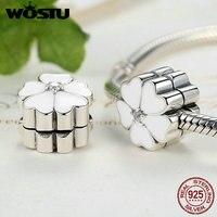 100 925 Sterling Silver White Primrose Clip Charm Beads Fit Original Pandora Bracelet Authentic Luxury Jewelry