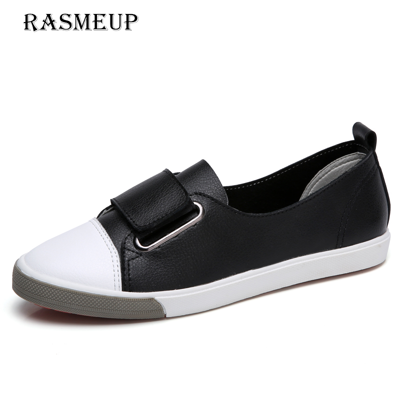 RASMEUP Genuine Leather Women's Slip On Flat Sneakers 2018 New Spring Women Soft Flats Loafers Black White Woman Casual Shoes 2018 new genuine leather flat shoes woman ballet flats loafers cowhide flexible spring casual shoes women flats women shoes k726