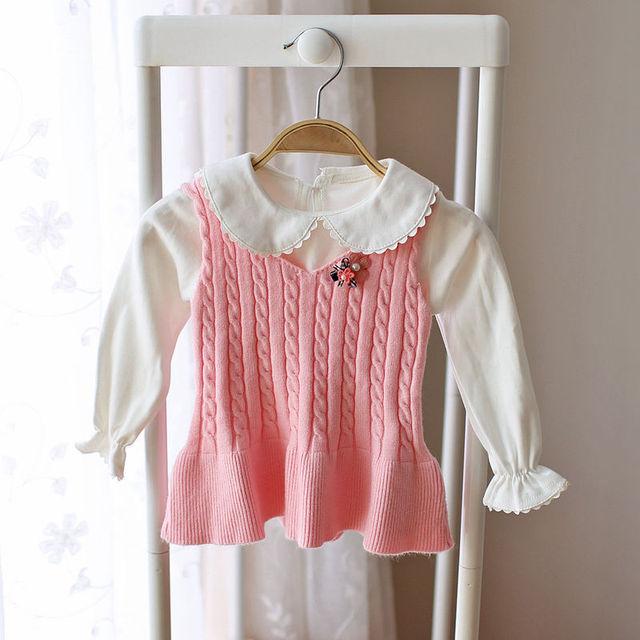 Niños niñas bebés de tejer sueter chaleco chaleco caliente del otoño del resorte niños niños arco personalidad suéter bebé infantil chaleco